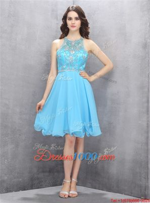 Perfect Scoop Blue Sleeveless Knee Length Beading Criss Cross Dress for Prom