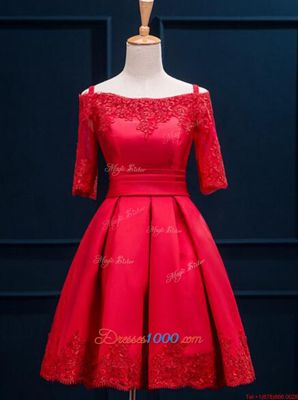 Gorgeous Off the Shoulder Half Sleeves Satin Mini Length Lace Up Dress for Prom in Red for with Appliques and Pleated