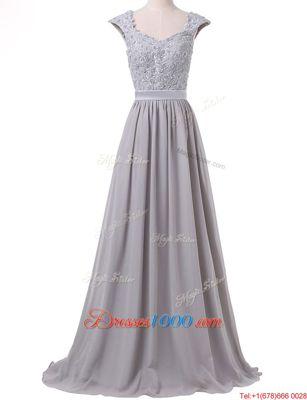 Grey Prom and For with Lace and Pleated Scoop Cap Sleeves Lace Up