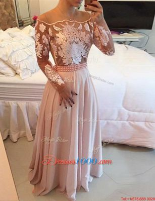 Flirting Pink Side Zipper Scoop Beading and Appliques and Sashes|ribbons Womens Evening Dresses Chiffon Long Sleeves