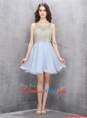 Free and Easy Sequins Scoop Sleeveless Zipper Juniors Evening Dress Light Blue Chiffon