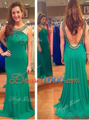 Custom Design Scoop Backless Chiffon Sleeveless Mini Length and Beading and Sashes|ribbons