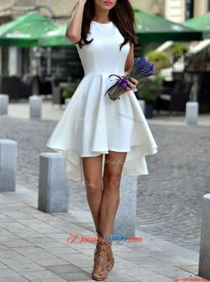 Hot Sale White Satin Zipper Scoop Sleeveless Asymmetrical Club Wear Pleated