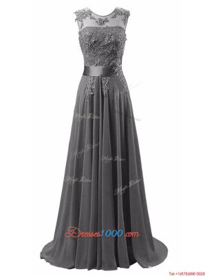 Enchanting Scoop Grey Dress for Prom Chiffon Brush Train Sleeveless Beading and Appliques