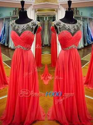 Delicate Scoop Sashes|ribbons Prom Party Dress Coral Red Backless Sleeveless Floor Length