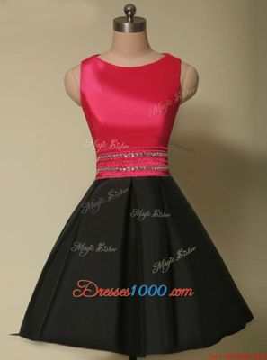 Simple Red And Black Scoop Lace Up Beading Homecoming Dress Online Sleeveless