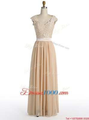 Modest Champagne Cap Sleeves Chiffon Side Zipper Homecoming Dress for Prom and Party