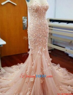 Mermaid Sweetheart Sleeveless Tulle Dress for Prom Appliques Chapel Train Zipper