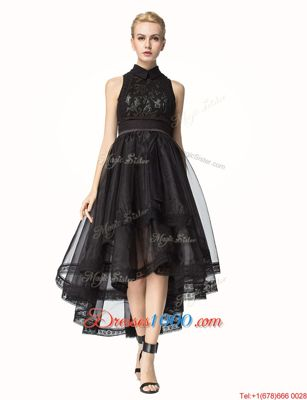 Romantic Black Sleeveless Asymmetrical Lace Zipper Pageant Dress Toddler