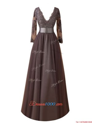 V-neck Long Sleeves Zipper Prom Party Dress Brown Organza