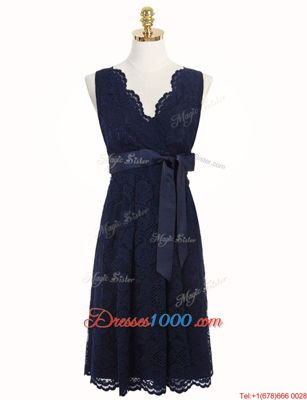High Quality Lace Navy Blue V-neck Neckline Sashes|ribbons and Bowknot Prom Dresses Sleeveless Zipper