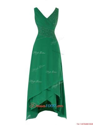 Green Chiffon Zipper Hoco Dress Sleeveless Asymmetrical Beading and Ruching