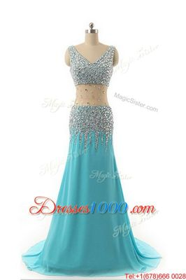 Ideal Aqua Blue A-line Beading Evening Dresses Zipper Chiffon Sleeveless Asymmetrical