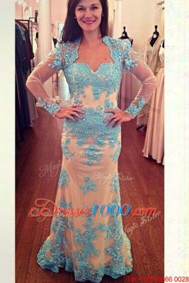 Glittering Square Long Sleeves Brush Train Zipper Prom Evening Gown White and Blue Chiffon
