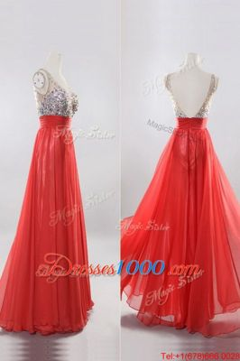 Unique Coral Red V-neck Zipper Beading Homecoming Dress Sleeveless