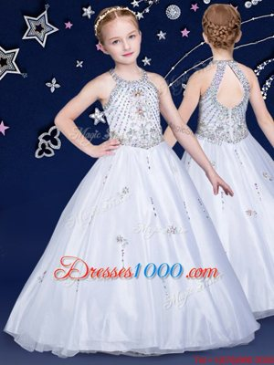 Halter Top White Sleeveless Floor Length Beading Zipper Flower Girl Dresses for Less