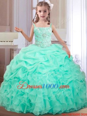 Organza Straps Sleeveless Lace Up Beading and Ruffles and Pick Ups Little Girls Pageant Dress Wholesale in Apple Green