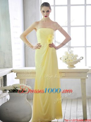 Fancy One Shoulder Sleeveless Side Zipper Floor Length Hand Made Flower