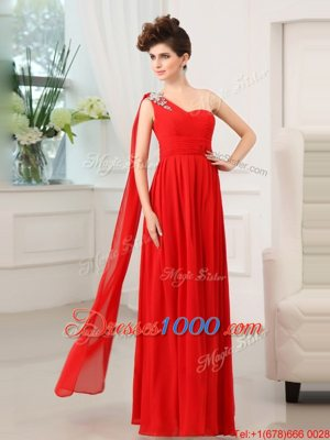 Stunning One Shoulder Sleeveless Chiffon Floor Length Zipper Prom Evening Gown in Red for with Beading and Sashes|ribbons and Ruching