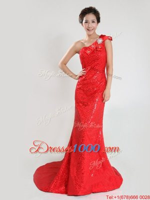 Coral Red One Shoulder Neckline Sequins and Bowknot Prom Dress Sleeveless Zipper