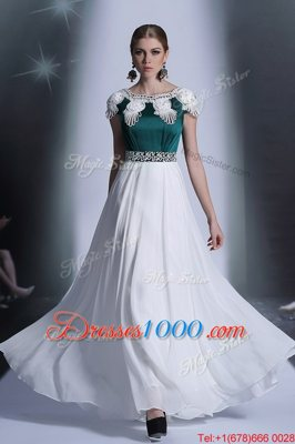 White Evening Dress Prom and Party and For with Appliques Scoop Cap Sleeves Zipper