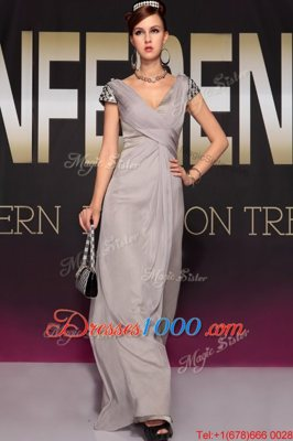 Grey V-neck Backless Beading and Ruching Prom Gown Sweep Train Short Sleeves