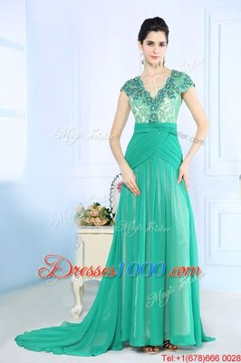 Low Price Turquoise Cap Sleeves With Train Beading and Lace and Ruching Side Zipper Prom Evening Gown
