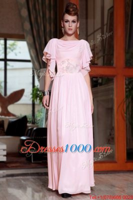 Pink Side Zipper Prom Dresses Beading and Ruching Cap Sleeves Ankle Length