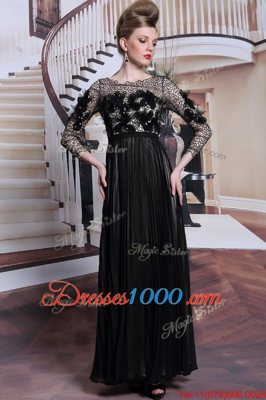 Extravagant Black 3|4 Length Sleeve Asymmetrical Appliques and Sequins Clasp Handle