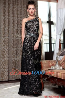 Ideal One Shoulder Black Sleeveless Beading Floor Length Prom Dress