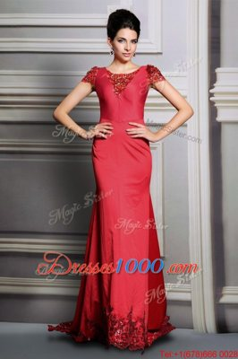 Pretty Scoop Short Sleeves Satin Evening Dress Appliques Court Train Clasp Handle