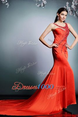 Perfect Satin Scoop Sleeveless Court Train Side Zipper Beading Prom Dresses in Coral Red