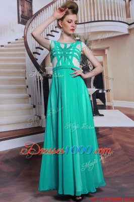 Scoop Turquoise Cap Sleeves Beading Floor Length Prom Dress