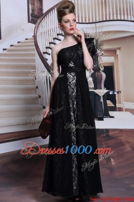 Extravagant One Shoulder Sleeveless Side Zipper Floor Length Lace and Sequins Homecoming Dress