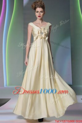 High Quality Scoop Light Yellow Cap Sleeves Chiffon Side Zipper Prom Party Dress for Prom and Party