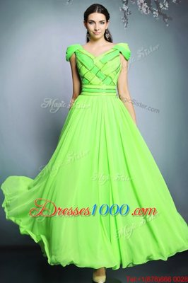 Simple Empire Pattern Dress for Prom Backless Chiffon Short Sleeves Floor Length