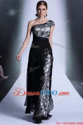 Fancy Black Column/Sheath One Shoulder Sleeveless Tulle and Lace Floor Length Side Zipper Embroidery Prom Party Dress