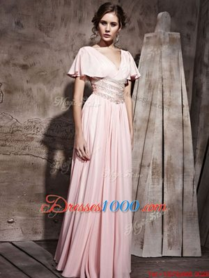 V-neck Short Sleeves Prom Party Dress Floor Length Beading and Ruching Pink Chiffon