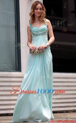 Fantastic Light Blue Sleeveless Chiffon Zipper Homecoming Dress Online for Prom and Party