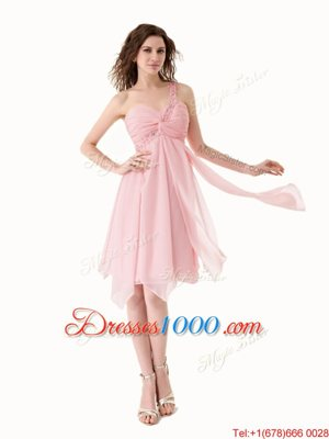 One Shoulder Baby Pink Chiffon Lace Up Sleeveless Knee Length Beading and Ruffles