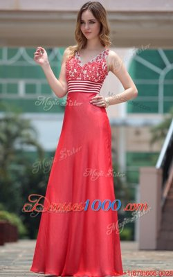 Perfect V-neck Sleeveless Chiffon Prom Homecoming Dress Appliques Side Zipper