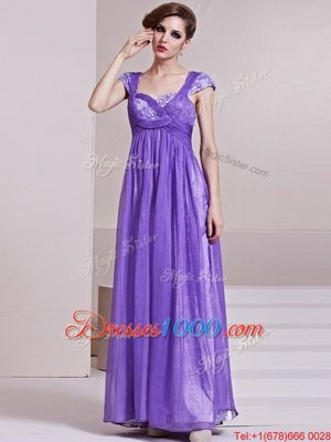 Classical Sequins Column/Sheath Prom Evening Gown Lavender Square Chiffon Cap Sleeves Ankle Length Side Zipper