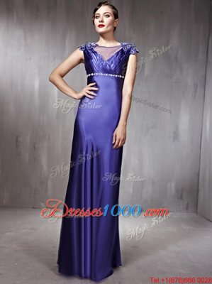 Spectacular Purple Column/Sheath Beading Evening Dress Side Zipper Satin Sleeveless Floor Length