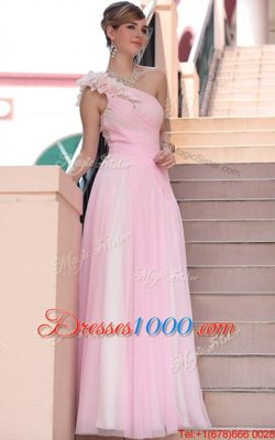 Cute One Shoulder Sleeveless Side Zipper Hot Pink Chiffon