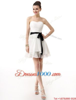 White Sleeveless Chiffon Lace Up Hoco Dress for Prom and Party