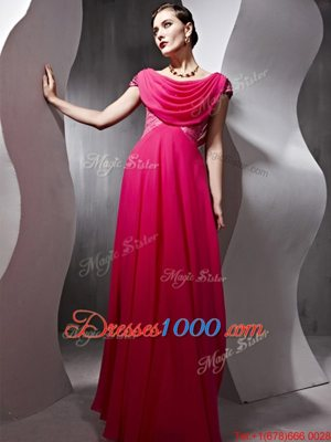 Scoop Hot Pink Cap Sleeves Chiffon Side Zipper Prom Gown for Prom and Party