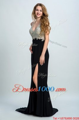 Customized With Train Column/Sheath Sleeveless Black Hoco Dress Brush Train Backless