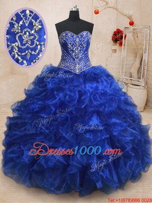 Great Sweetheart Sleeveless Organza 15th Birthday Dress Beading and Ruffles Brush Train Lace Up