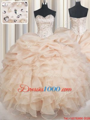 Champagne Lace Up Sweetheart Beading and Ruffles and Pick Ups Quinceanera Dresses Organza Sleeveless