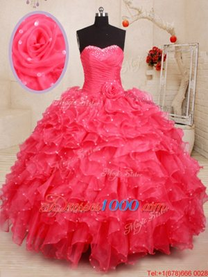 Great Sweetheart Sleeveless Ball Gown Prom Dress Floor Length Beading and Ruffles and Sequins and Hand Made Flower Coral Red Organza